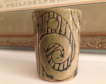 8oz Tea cup. Handleless juice cup. Celtic tumbler. Small coffee cup. Pottery cup. Wheel thrown pottery. Ceramic tumbler. Food safe pottery.