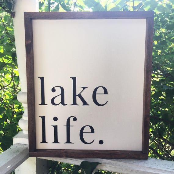 Lake Life Framed Wood Sign Summer Quote Wall Hanging Lake | Etsy