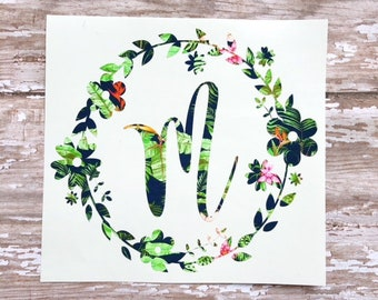 Lilly Pulitzer Floral Monogram decal / Floral Monogram Decal / Floral Wreath Monogram Car decal / Yeti decal / Laptop decal / Tumbler Decal