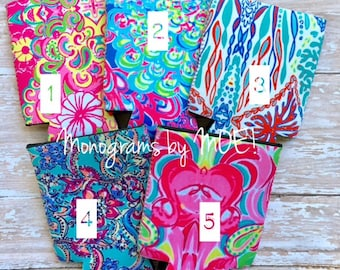 Lilly Pulitzer Can Cooler / Lilly can cooler / Monogrammed can cooler / Lilly monogrammed can cooler