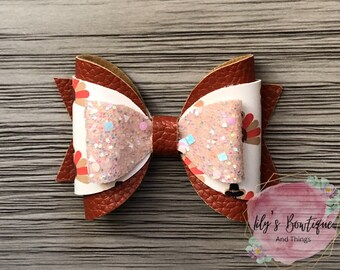 Thanksgiving Faux Leather Bow Hair Clip Girls Hair Bow Nylon Headband Fall Hair Bow Gift For Girls Infant Turkey Hair Bow