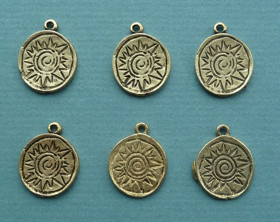 6 Antique Silver Plated Sun Face Charm Beads 17MM