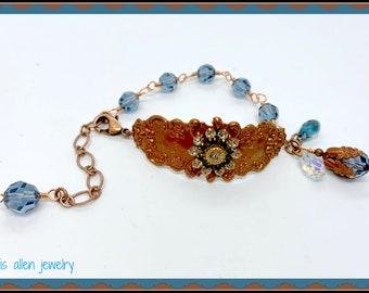 Adjustable Gingerbread cuff bracelet with Denim Blue Swarovski crystals.