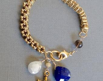Vintage gold chain bracelet, Smokey Quartz, Rainbow Moonstone, Lapis, Opal, and a Beautiful gold cross