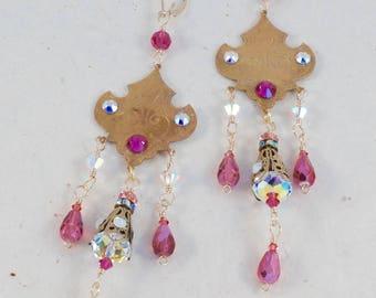 Pink Chandelier earrings, Vintage India themed brasses, Lots of hand-wrapped Swarovski crystals, 14kt gold filled lever back ear hooks.