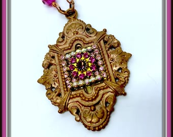 Stunning vintage French focal with rhinestones and Swarovski flower. The matching copper chain has Fuchsia Swarovski crystals.