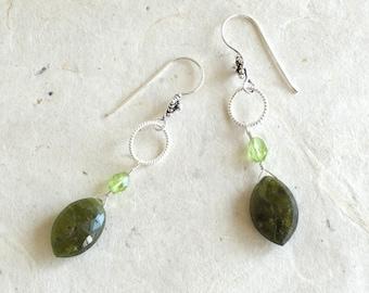 Green Vesuvianite drops, Peridots, Sterling silver twisted hoops, fancy Sterling ear wires.