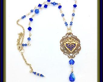 Vintage French Brasses, Multi-Blue Swarovski crystal necklace, Vintage crystal drop.