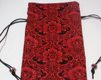 GOTHIC STEAMPUNK VICTORIAN RED /& BLACK SATIN /& LACE BEAD RETICULE PURSE SASS