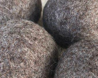 Large Felted Wool Dryer Balls Eco - 100% Wool - Set of 4 Large Eco Dryer Balls - Brown