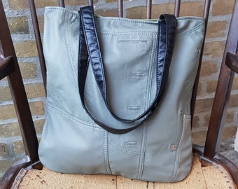 Handmade Shopper Bag, Handmade Leather Bag, Hobo Recycled Leather Bag, Leather Tote, Leather Shopper, Reused Leather Bag