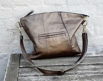 Handmade Leather Bag, Hobo Bag, Recycled Leather Bag, Leather Bag, Leather Tote, Leather Handbag, Reused Leather Bag, Unique Bag