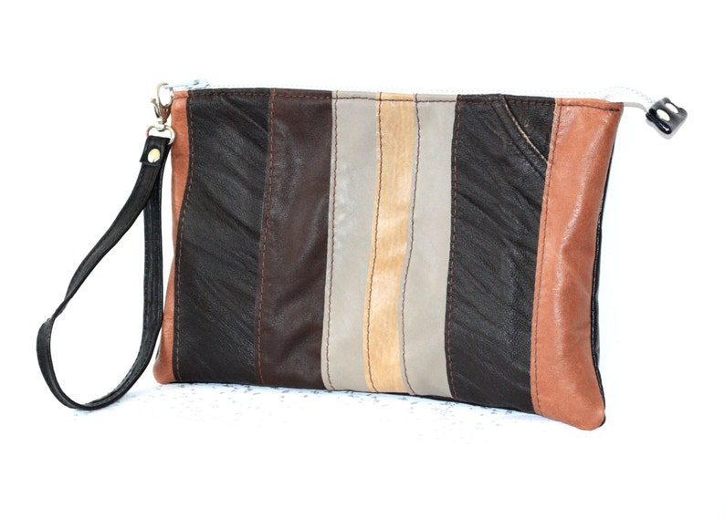 UPCYCLED Leather Clutch Recycled Leather Clutch Leather Bag image 0