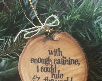 Coffee Wood Slice Ornament