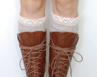 Knit Boot Cuffs w/ Lace Top - Tan