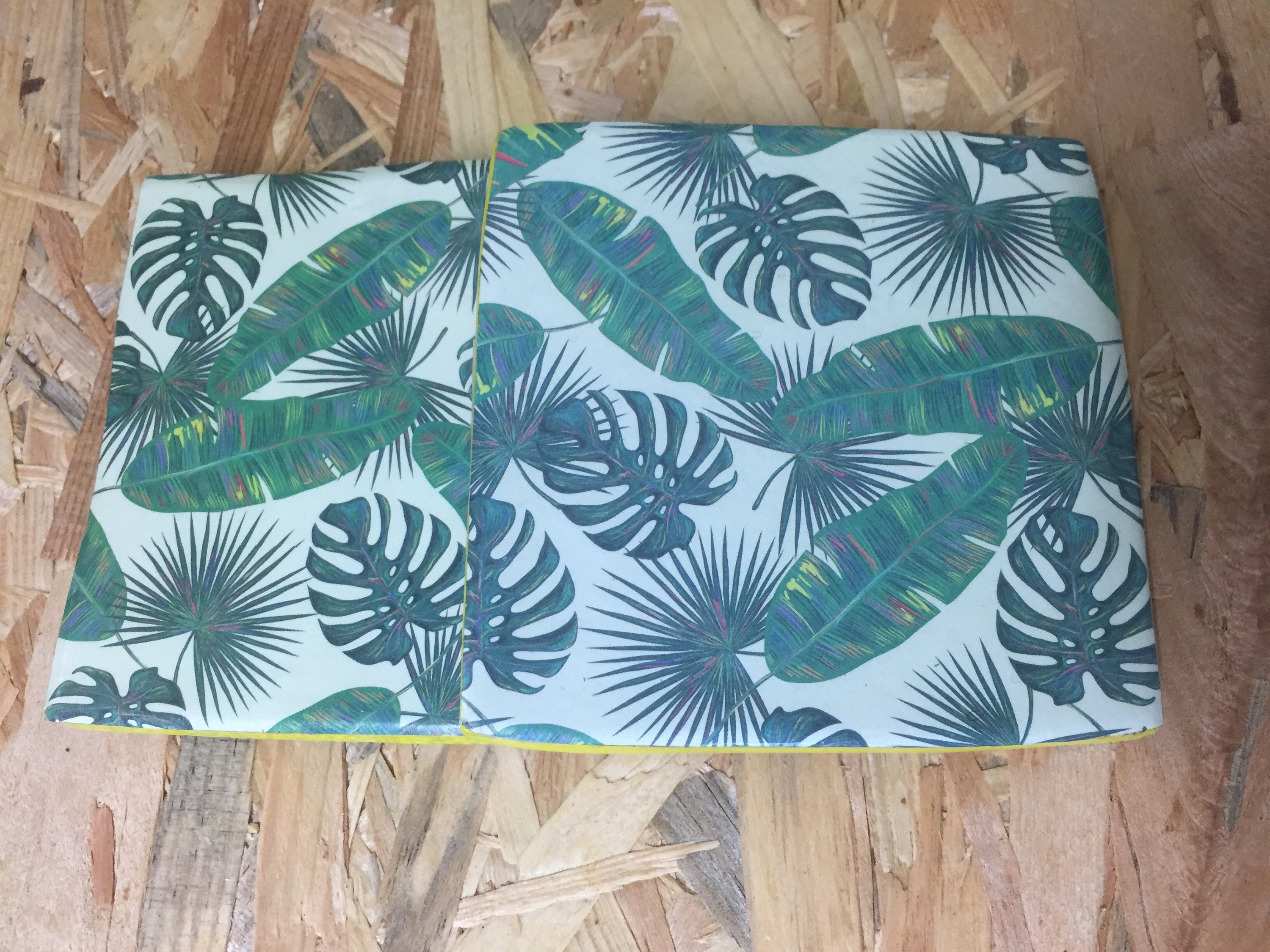 Recycled Handmade Ceramic Tile Coasters Set Of Two Tropical Etsy