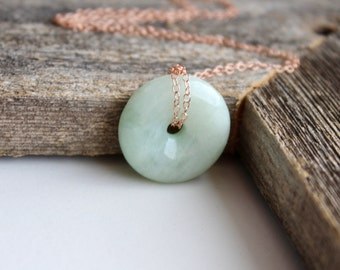 Donut Nephrite Jade Pendant Necklace, 14 k Rose Gold Filled