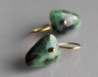 Gold Ruby Zoisite Earrings, Solid Gold 14k, Rosecut, Fancy Shape