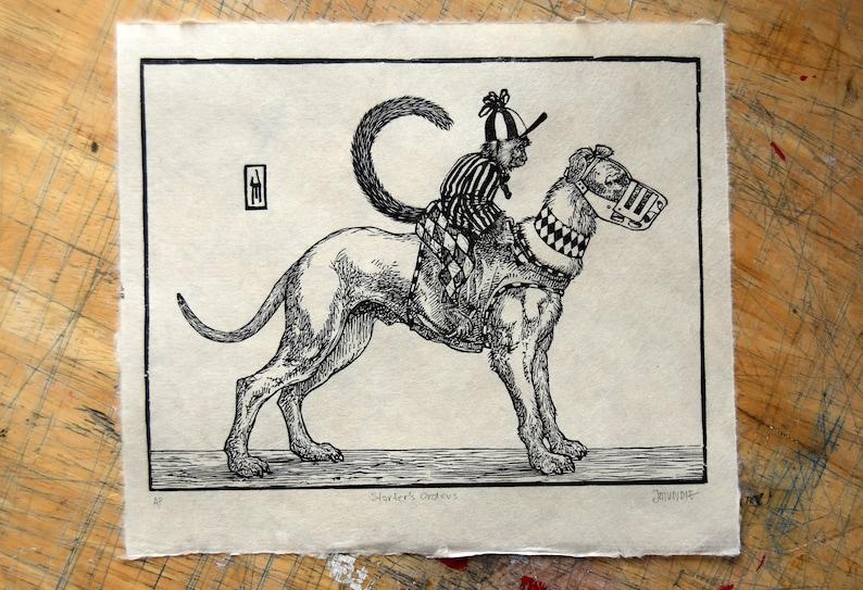 Woodcut print: Starter's Orders image 1