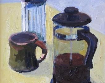 Coffee, original oil painting