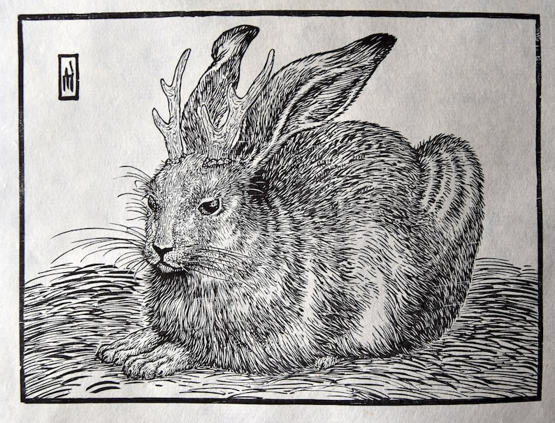 Jackalope woodcut print: Lesser Horned Coney image 0