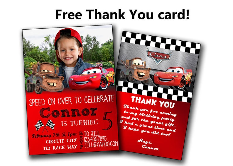 Disney Cars Invitation Birthday