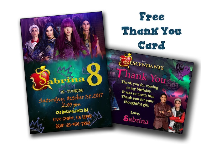 Descendants 2 Digital Printable Invitation Custom Party BirthdayParty Supply