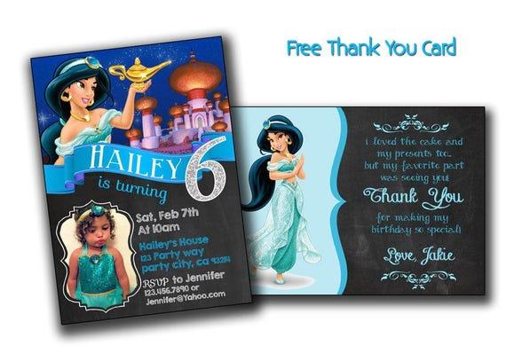 Disney Princess Jasmine Birthday Card Jasmine Invitation Jasmine Birthday Invite Card Custom Invitation Jasmine Editable Princess Jasmine