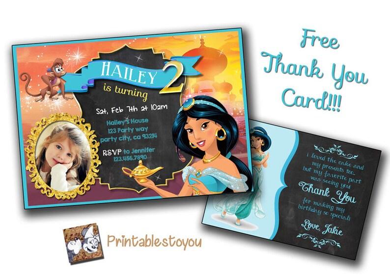 Jasmine Invitation Disney Princess Jasmine Birthday Card Jasmine Birthday Invite Card Custom Invitation Editable Princess Jasmine Digital