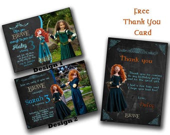 Brave Invitation,Pixar's Brave,Brave Birthday Invitation,Brave Birthday Invite, Custom Design,Disney's Brave invitations free thank you card