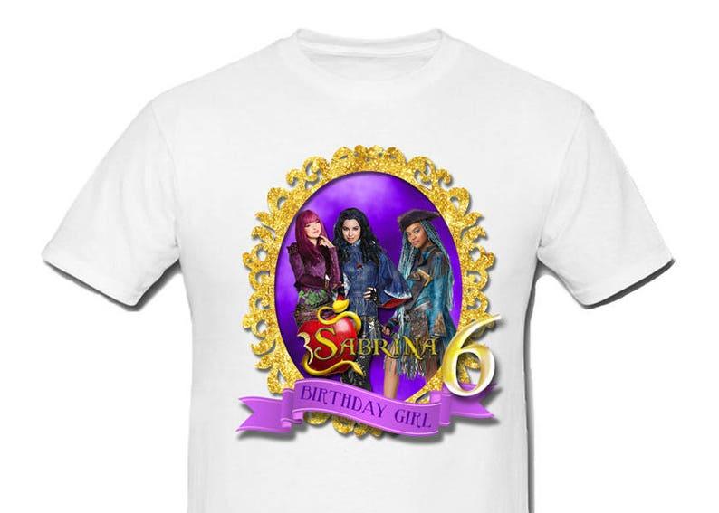 Descendants 2 Digital Iron On Design Disney Party Birthday Decoration Shirt T Custom Decorations Mal Uma Evie Carlos