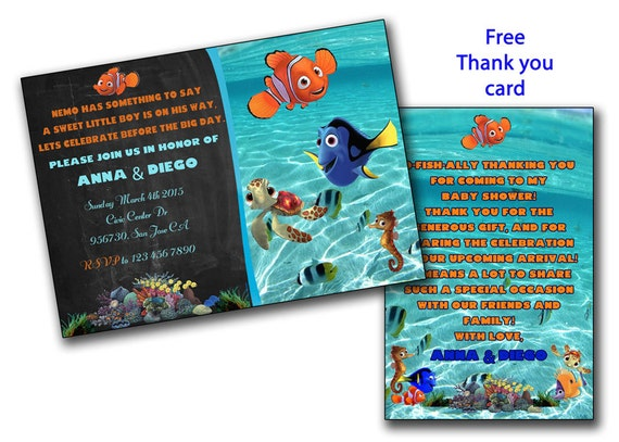 Finding Nemo Baby Shower Invitation Finding Dory Boy Or Girl Etsy