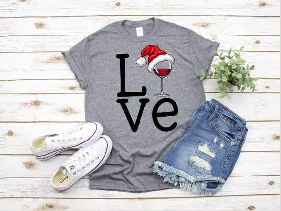 LOVE SANTA & Wine t-shirt - Ladies T, Boho, Gifts for her