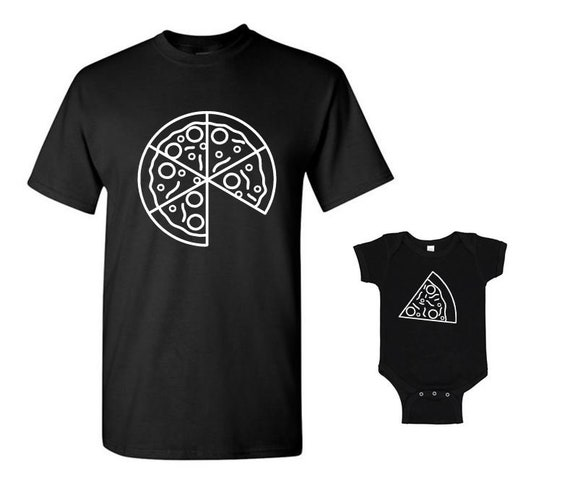 PIZZA and Pizza Slice - Parent/Child Matching Family T-shirts, Men's/Women's DAD T-shirt and Infant Bodysuit