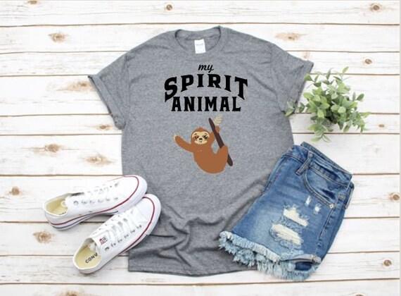 My SPIRIT ANIMAL is a SLOTH - fun, cute, gift t-shirt