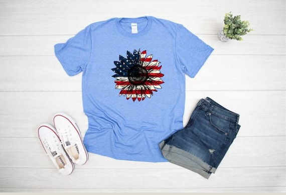 USA T SHIRT, Patriotic Daisy, Red White Blue, Independence Day, Stars and Stripes T-shirt