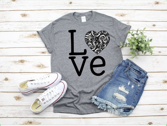 LOVE colored HEARTS, heart t-shirt - Ladies T, Boho, Gifts for her