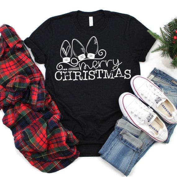 MERRY CHRISTMAS tree lights, holiday, fun family T-shirt's