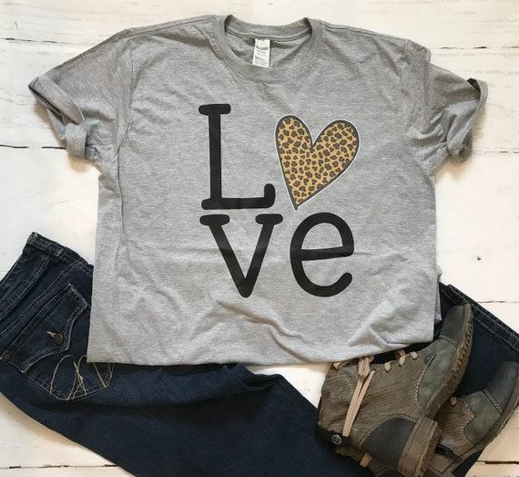 LOVE LEOPARD Black Heart, Fun Tanks and T-shirts