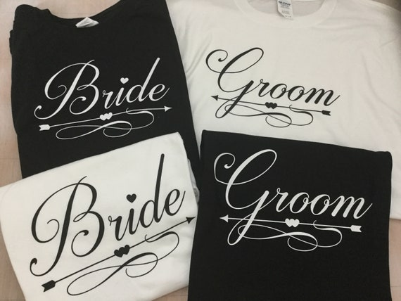 Bride and Groom Wedding T-shirts, marriage gift, Just married