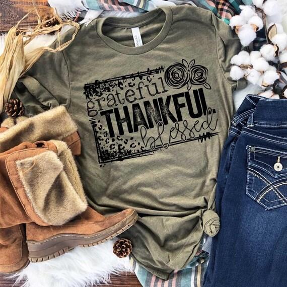GRATEFUL, Thankful, BLESSED FALL T-shirt, Halloween, Fall shirt