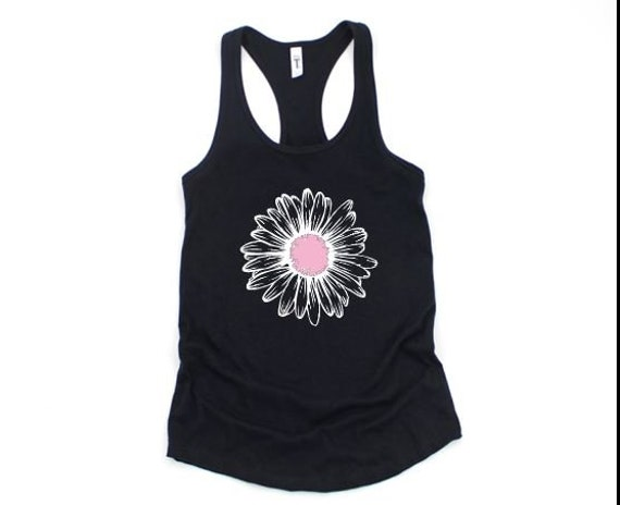 DAISY Flower, Floral, BoHo SUNFLOWER T-shirt, Pink and White Flower
