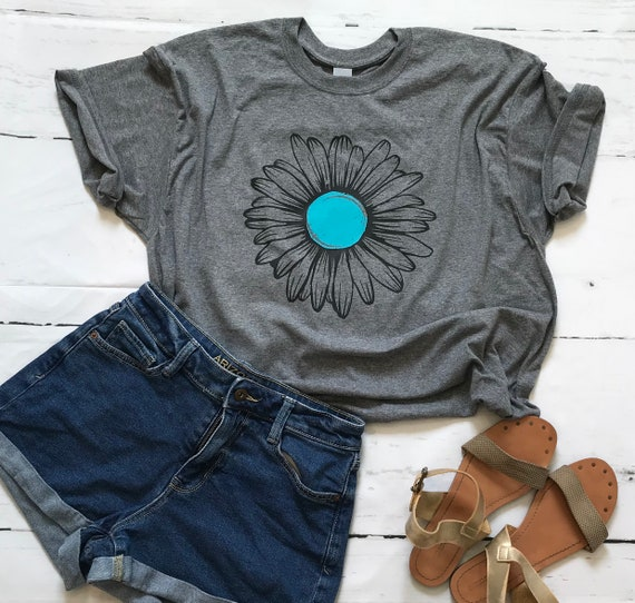 SUNFLOWER Tee - Turquoise  and Black Floral Daisy FLOWER Fun  T-shirt