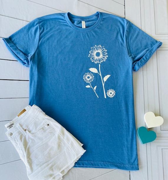 White SUNFLOWER/DAISIES Flower Tee - Fun, floral T-shirt