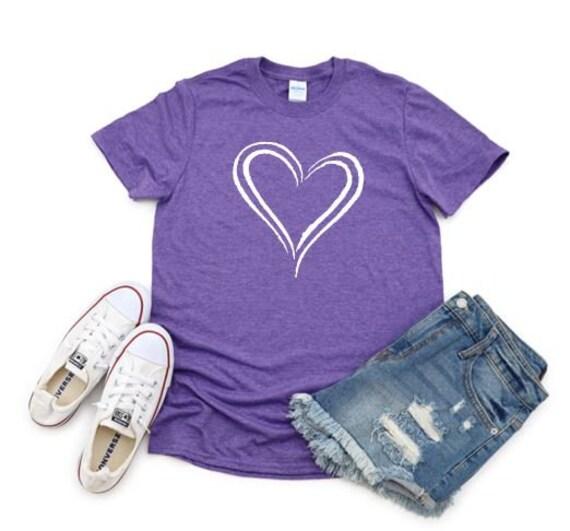 WHITE HEART, love, Valentine, Birthday heart T-shirt
