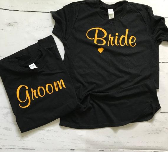 Bride & Groom WEDDING HALLOWEEN Orange Ink T-shirts