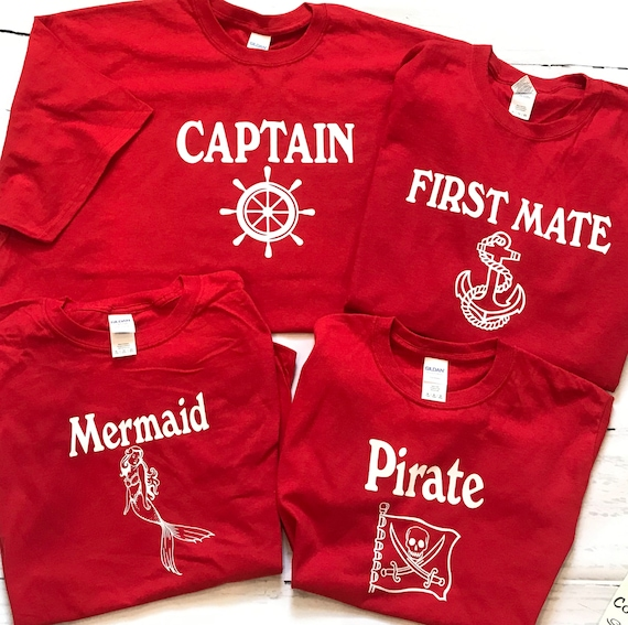CAPTAIN, First Mate, Mermaid and Pirate FAMILY T-shirts