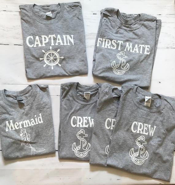 Captain T-shirt, Co-captain, Skipper, First Mate, Deckhand, Pirate Family T-shirts