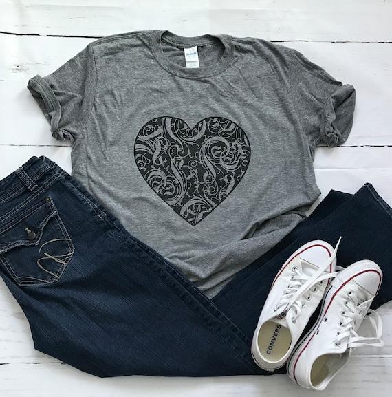 LOVE large BLACK heart T-shirt