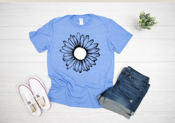 DAISY Flower Tee - White and Black Floral FLOWER Fun T-shirt